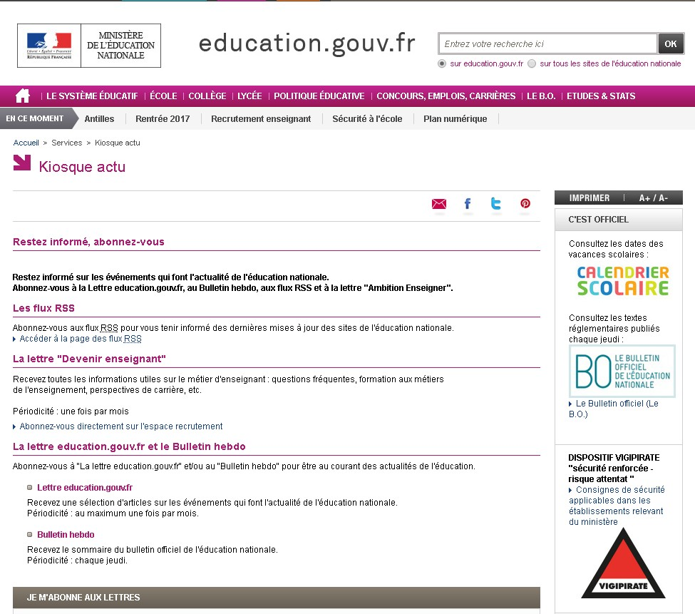 Education nationale newsletter
