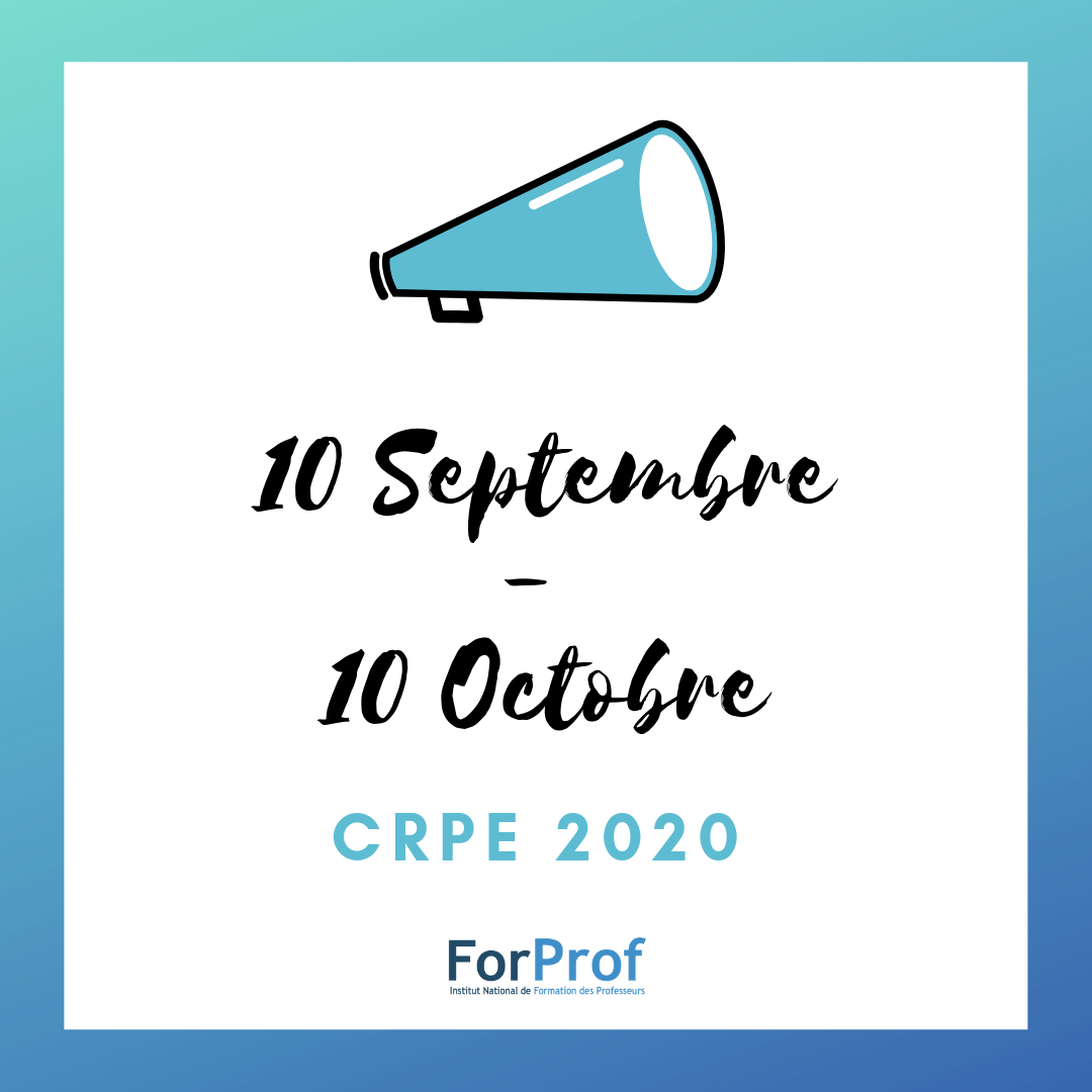 Découvrez les dates d'inscription et des épreuves du CRPE 2020 !